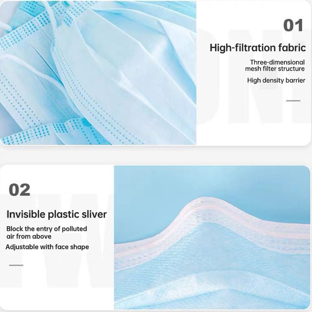 10PCS 3 Layer Disposable Elastic Mouth Soft Breathable Blue Soft Breathable Flu Hygiene Child Kids Face Mask Dropshipping 3