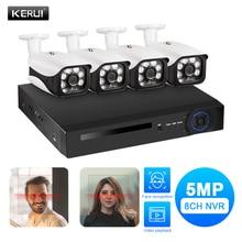 KERUI HD 5MP POE NVR Kit 4CH CCTV Camera System WIFI Outdoor IP Camera Home Security Alarm NVR Kit Night Vision POE Surveillance