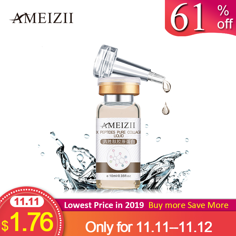 AMEIZII Six Peptides Pure Collagen Protein Liquid Hyaluronic Acid Anti-Wrinkle Anti Aging Face Lift Serum Moisturizer Skin Care