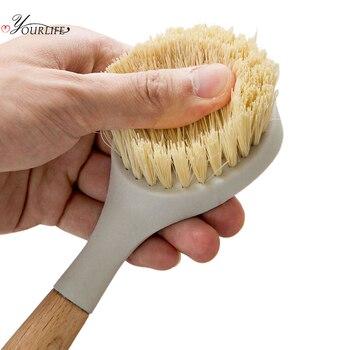 OYOURLIFE Kitchen Wooden Long Handle Cleaning Brush Pan Pot Bowl Tableware Brush Dish Washing Brush Home Kitchen Cleaning Tool 4