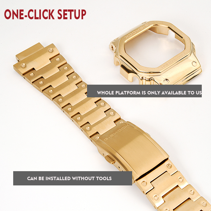 Watchband and bezel DW5600 GW5000 GW-M5610 metal strap bezel Stainless steel belt tools Case Frame