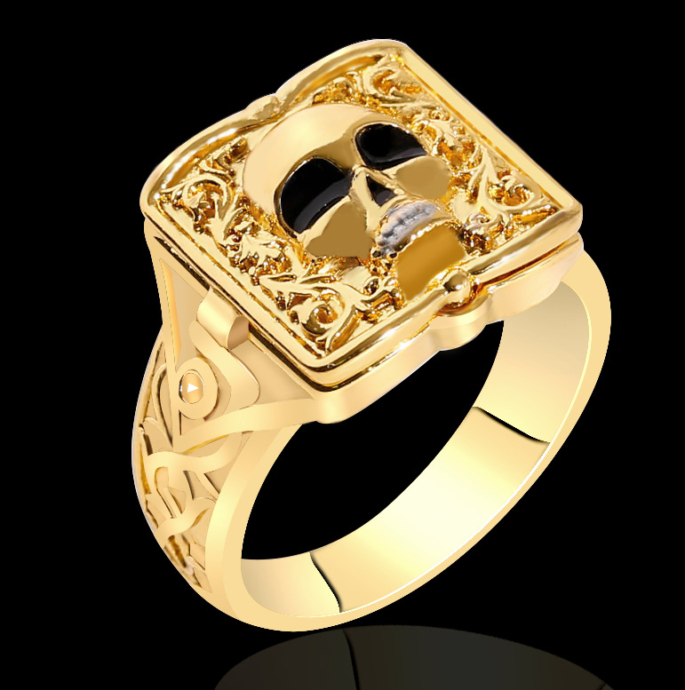 Creative Men's Clamshell Skull and Lion Head Ring Hip Hop Punk Style Small Box Secret Men's Birthday Gift Wedding Ring