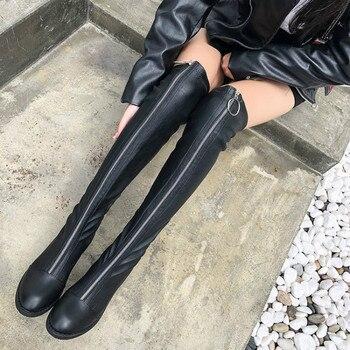 Γυναικείες μπότες πάνω από το γόνατο με φερμουάρ μπροστά χαμηλό τακούνι
