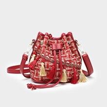 Bucket Bags For Women 2019 New Vintage Tassel Messenger Bag High Quality Retro Shoulder Bag Simple Crossbody Women Bag Tote