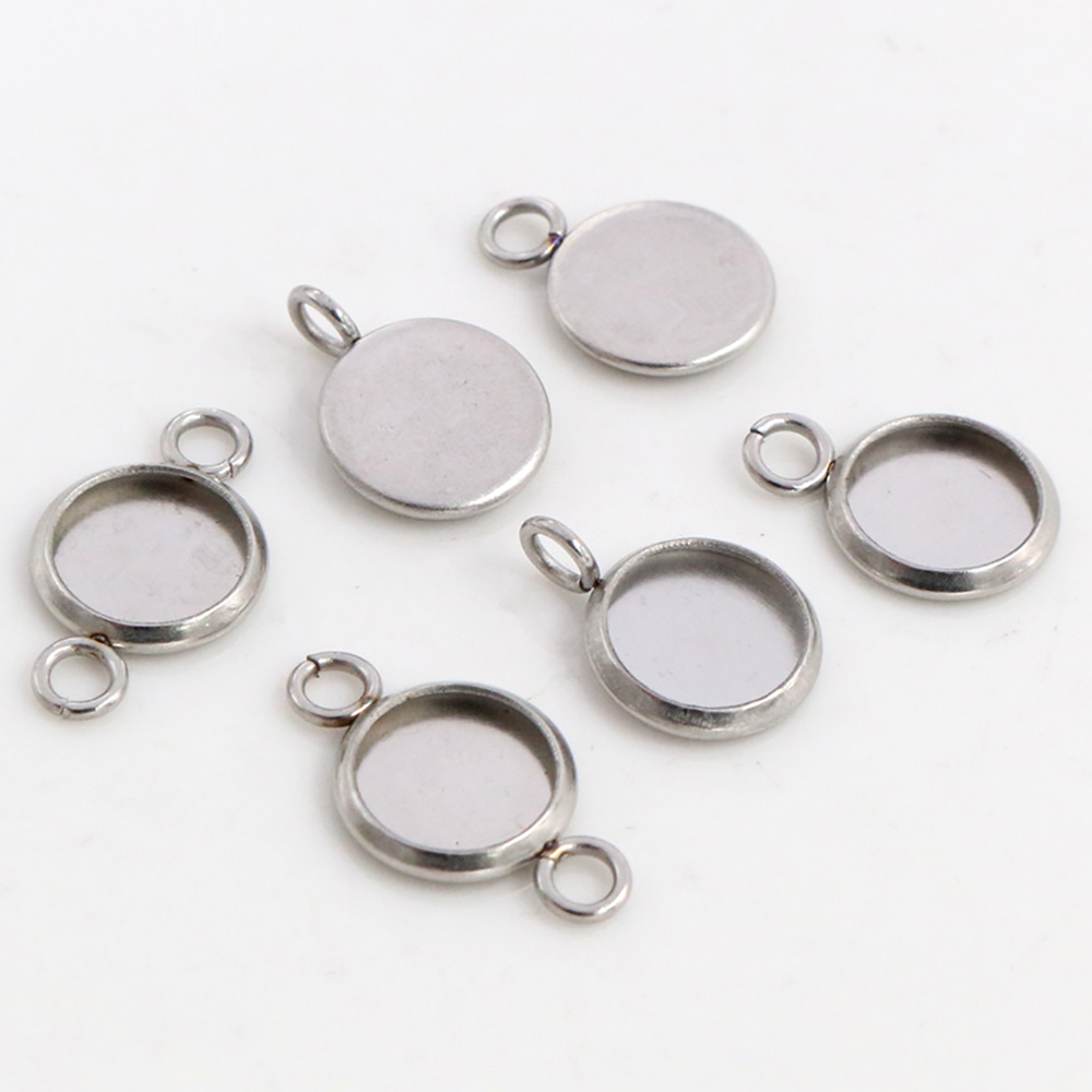 (No Fade) 8mm 20pcs Stainless Steel 3 Style Cameo Settings Cabochon Base Charms Pendant High Quality
