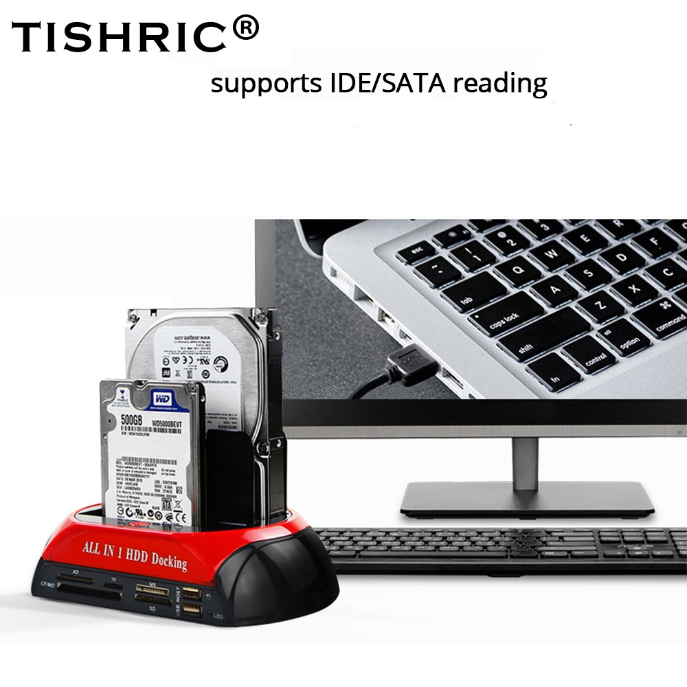 TISHRIC All In One External SATA IDE Dual HD/HDD Docking Station USB 2.0 ESATA 2.5/3.5 Hard Drive/Disk Reader/Housing/Box For HP