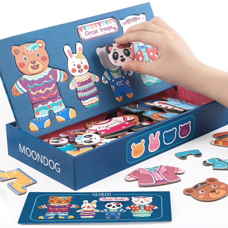 3D Animal Dress Change Jigsaw Magnetic Puzzle Toy Kids Play  Game Early Education Wooden Puzzle Educational Toys For Children