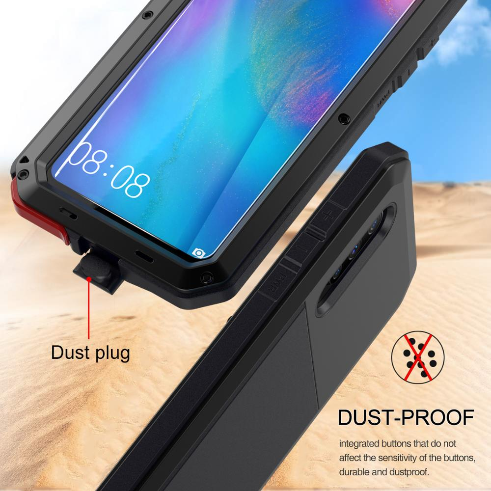 Image 3 - Heavy Duty Protection armor Metal Aluminum phone Case + Tempered Glass for HuaWei Mate 20 pro P30 pro Shockproof Dustproof CoverFitted Cases   -