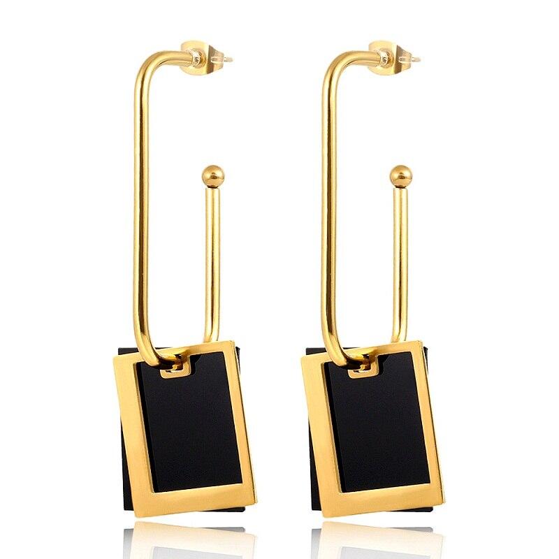 MSX Fashion Punk Black Shell Earrings For Women OL Female Geometric U Shape Square Stud Earrings Trendy Jewelry Party Gifts  - buy with discount