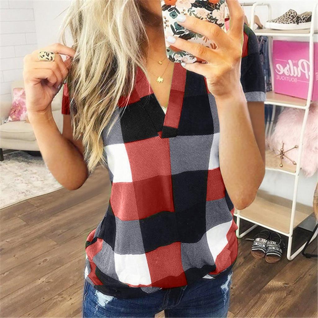 Fashion Plaid T Shirt Plus Size Cotton Tshirt Casual Summer Ladies Sexy V-Neck Tunic Tops Female Women Short Sleeve Shirt Blusas