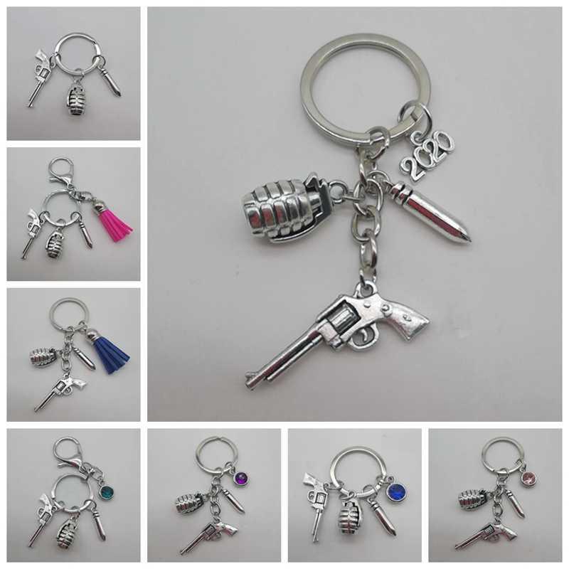 Men Male Keychain Alloy Model Key Ring Cool 3D Gun Car Mini Cool Player Gifts#