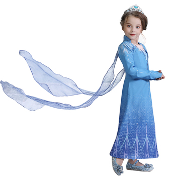 4-10T Fancy Princess Dress Baby Girl Clothes Kids Halloween Party Cosplay Costume Children Elsa Anna Dress vestidos infantil 2