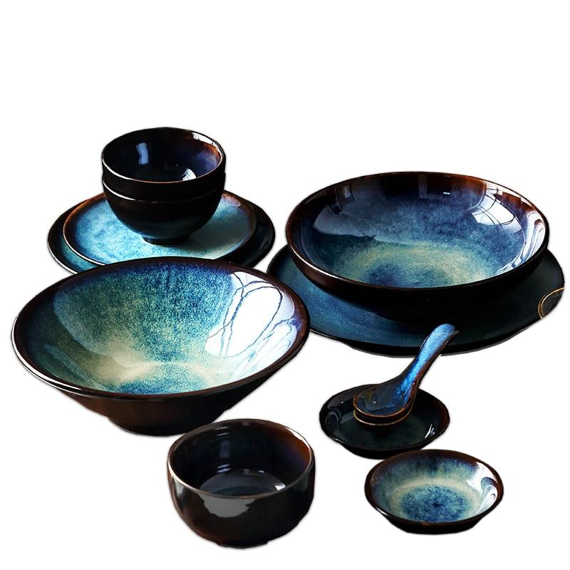 ANTOWALL ensemble de vaisselle japonais en céramique | Ensemble de dîner 2/4/6 personnes, ensemble de vaisselle ménager couleur glaçure motif paon ensemble d'assiettes