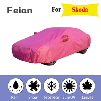 Full Reflective strip Car Covers Snow Ice Dust Wind Sunshade UV Cover Foldable Car Outdoor orange Protector Cover for Skoda