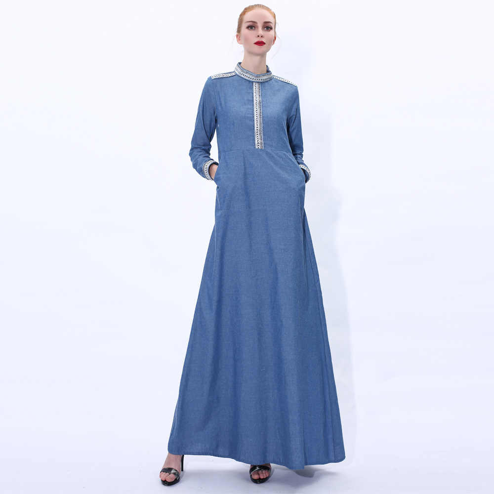 ヴィンテージイスラム教徒ドレス女性デニム A ラインマキシヒジャーブドレストルコイスラムジーンズ Vestidos 着物モロッコカフタンアラビア Elbise
