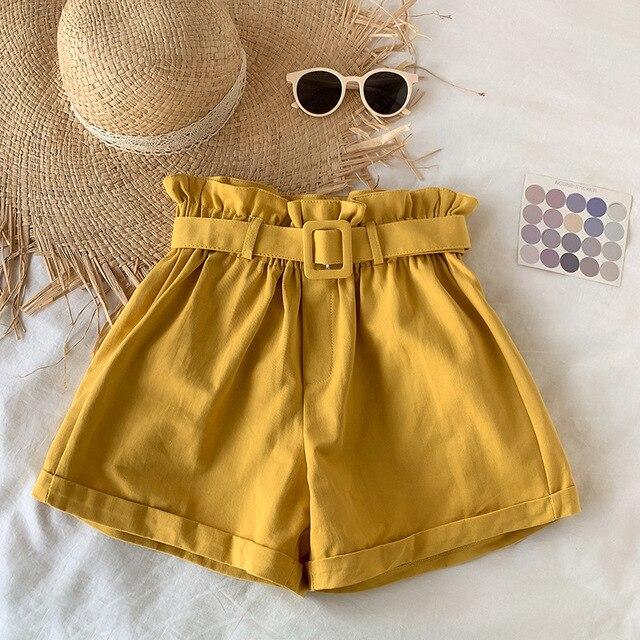 Elegant Cotton Shorts womens 2021 Summer New Wild Leisure Bead Bud Wide Leg shorts High Waist Slimming Shorts with a Belt 5