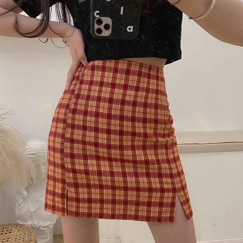 SML 4 Colors Woman Skirts 2020 Summer Women High Waist Mini Short Skirt Plaid A Line Vintage Mini Skirt Womens (x1378