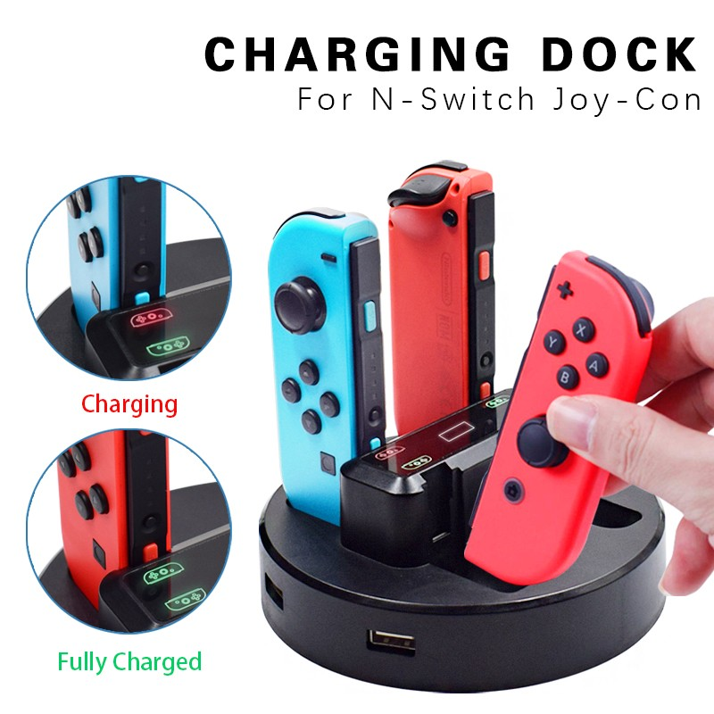 Док-станция для зарядного светодиодный Joy-Con, светодиодная Подставка для зарядки с микро-USB кабелем для консоли Nintendo Switch