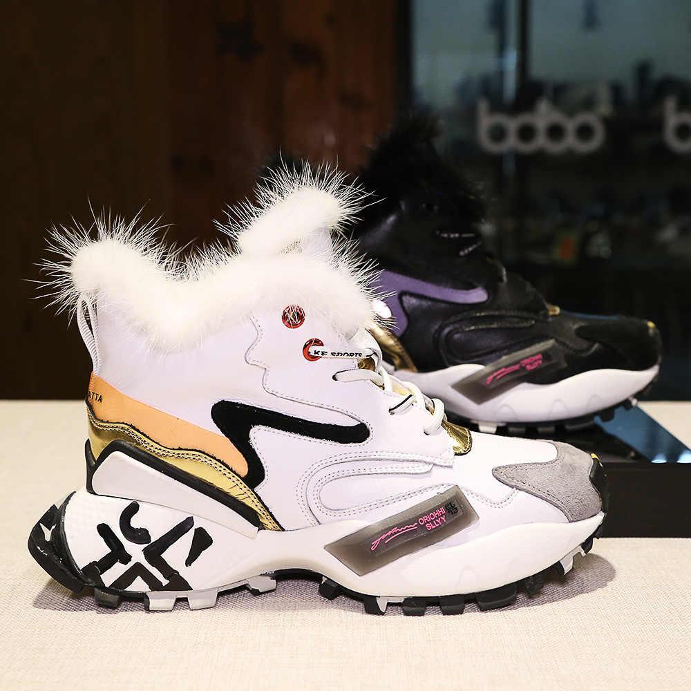 Bayan hakiki deri gerçek vizon kürk ayakkabı sıcak kış platformu rahat kore tarzı maç renkleri yüksek Top ayakkabı siyah beyaz