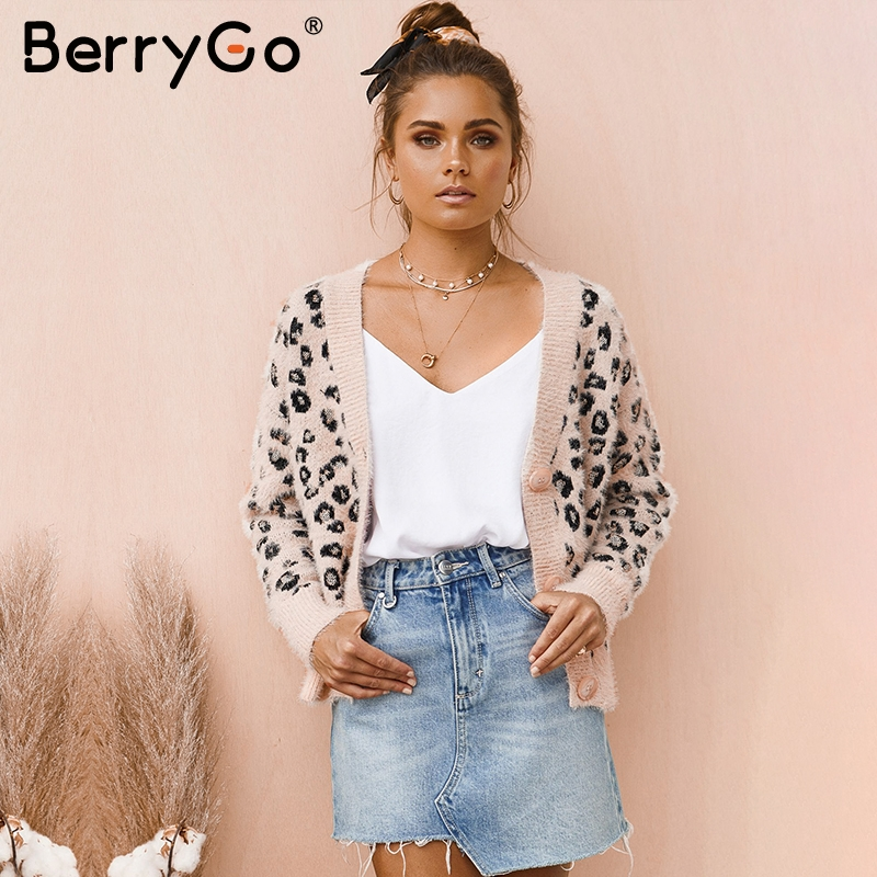 BerryGo Leopard Print Mohair Cardigan Women Vintage Button Female Knitted Sweaters Cardigan Long Sleeve Autumn Winter Pink Coats