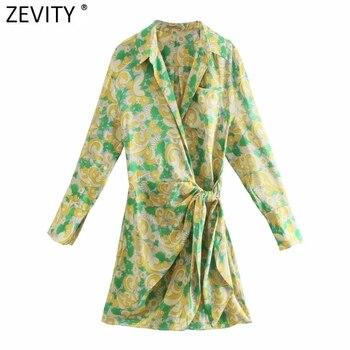 Zevity 2021 Women Vintage Floral Print Casual Slim Mini Shirt Dress Female Chic Long Sleeve Bow Tied Wrap Kimono Vestidos DS8346 1