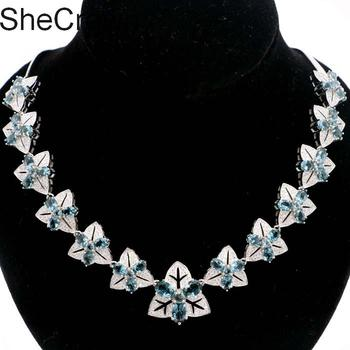 """Beautiful 30.9g Created London Blue Topaz CZ Wedding Gift For Woman's Silver Necklace 18-18.5"""" 22x22mm"""