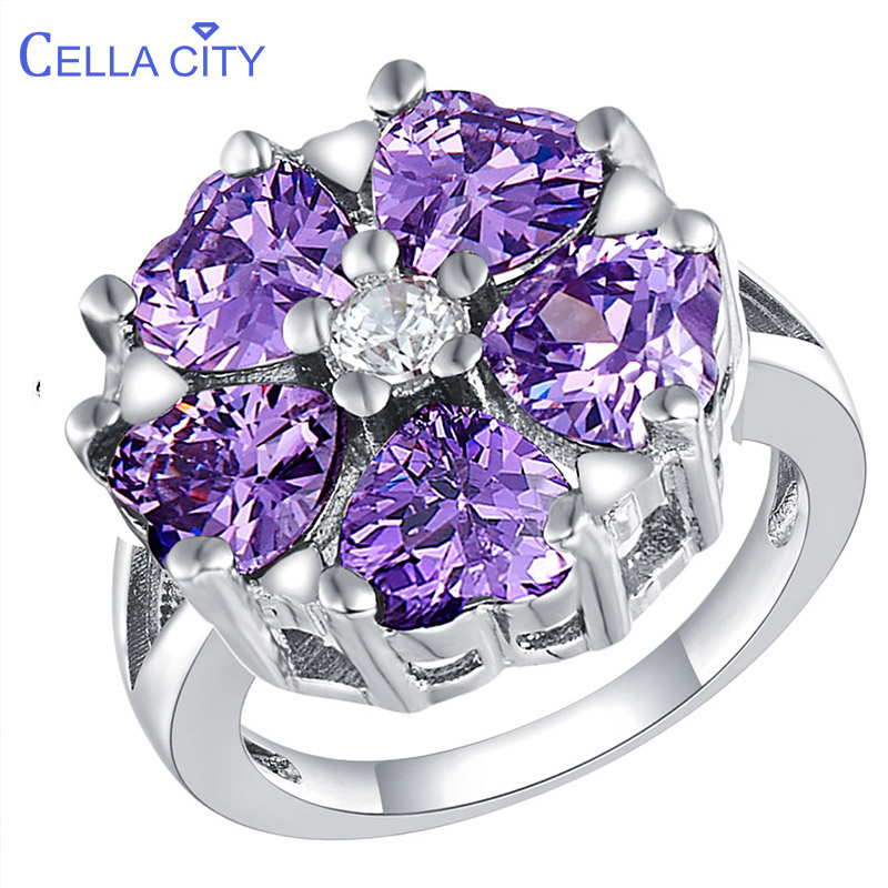 Cellacity Classic Silver 925 Ring For Women Heart Shaped Gemstones Zircon Finger Ring Amethyst Ruby Sapphire Aquamarine Jewelry