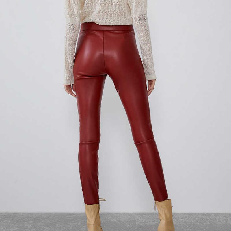 RR Solid PU Leggings Vrouwen Fashion Faux Lederen Legging Vrouwen Elegante Rits Leggings Vrouwelijke Dames JI