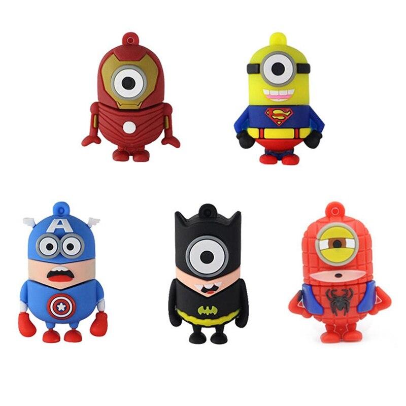 Pen Drive Cartoon Super Heros Minions USB 2.0 Flash Memory Stick Pendrive 8GB 16GB 32GB 64GB 128GB USB Flash Drive U Disk