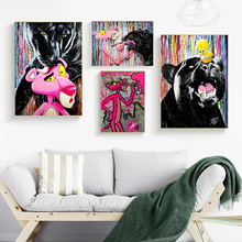 Graffiti Pink Panther Posters and Prints Colourful Leopard Paintings on Canvas Street Wall Art Animal Picture Cartoon Home Decor