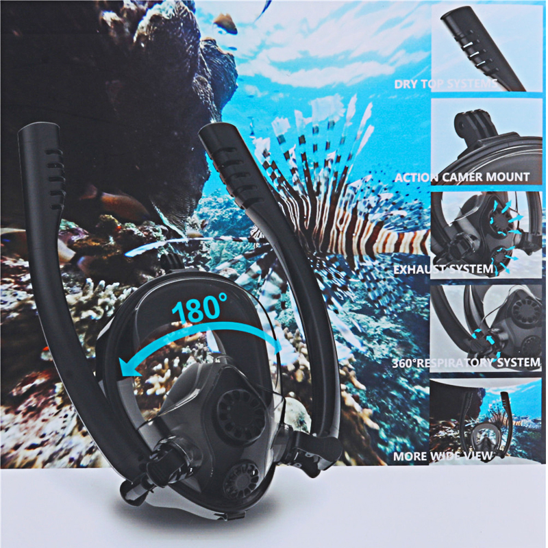 Double Breath Tube Swimming Mask Full Face Snorkel Mask Anti-Fog Anti-Leak For Mask Adults Kids Diving Mask