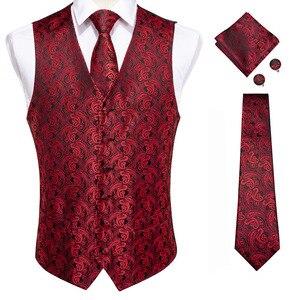Image 3 - DiBanGu Top 9 styles Vest for Men Silver Red Orange Blue Mens Vest Suit Business Wedding Party Occasion Hanky Cufflinks Vests