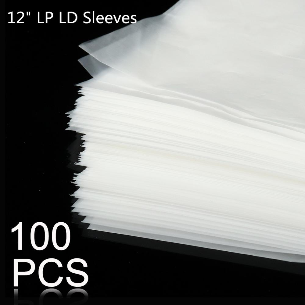 100pcs 12inch PE Vinyl Record LP LD Record Plastic Bags Anti-static Record Sleeves Outer Inner Plastic Clear Cover Container