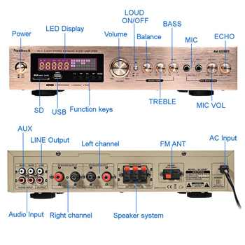 Усилитель мощности SUNBUCK 608BY, 2*100 Вт, Bluetooth, FM, USB 3