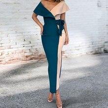 цена на Plus Size Women V Neck Patchwork Maxi Dress 2019 Summer Belt Bodycon Sexy Party Dress Ladies Empire Dresses
