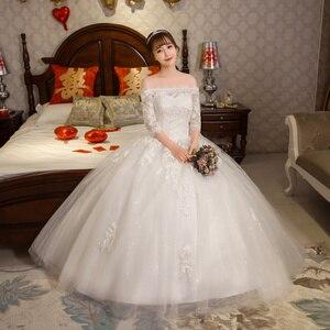 Image 2 - หรูหรายาวชุดแต่งงาน 2020 ครึ่งแขนเสื้อลูกไม้ปิดไหล่ Elegant งานแต่งงานชุดเจ้าสาว VINTAGE Vestido De Noiva