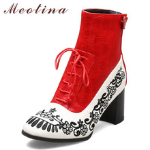Meotina Women Boots Autumn Ankle Boots Embroider Thick High Heel Short Boots Zipper Round Toe Shoes Ladies Winter Red Size 33-43 недорого