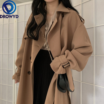 Fashion 2020 Autumn Casual Double Breasted Simple Classic Long Trench Coat with Belt Chic Female Windbreaker X-Long Streetwear