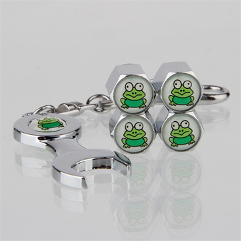 Anti theft Car Wheel Tire Valve Stem Caps Frog Tyre Valve Dust Caps + Wrench Keychain For Chevrolet Spark Epica Niva Accessories