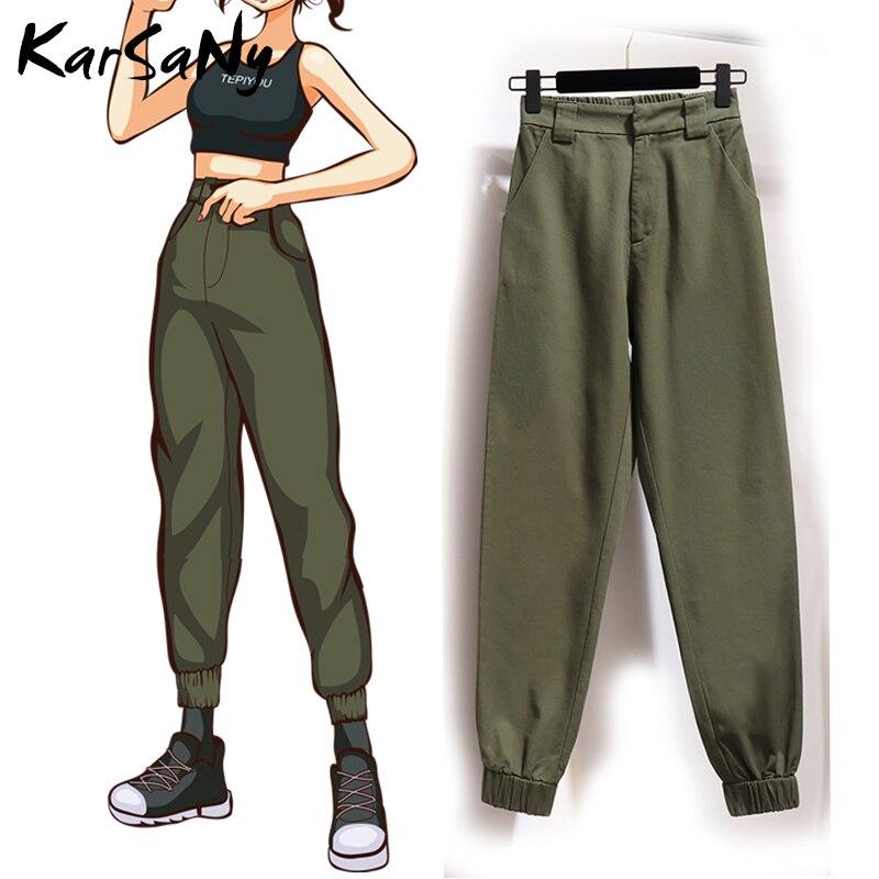 KarSaNy Hippie Cargo Pants Women Cotton High Waist Sweatpants Pants Joggers Women Black Pantalon Cargo Femme Ladies Trousers