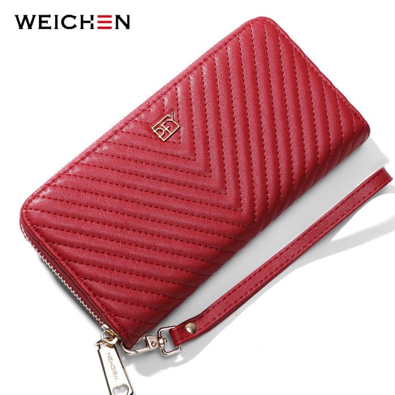 WEICHEN Brand Design Women Wallet Large Capacity Wristband Long Clutch Wallets Female Purses Phone Pocket Card Holder Carteras