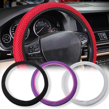 Universal Breathable Ice Silk Anti-Slip Car Steering Wheel Protector Cover Decor image
