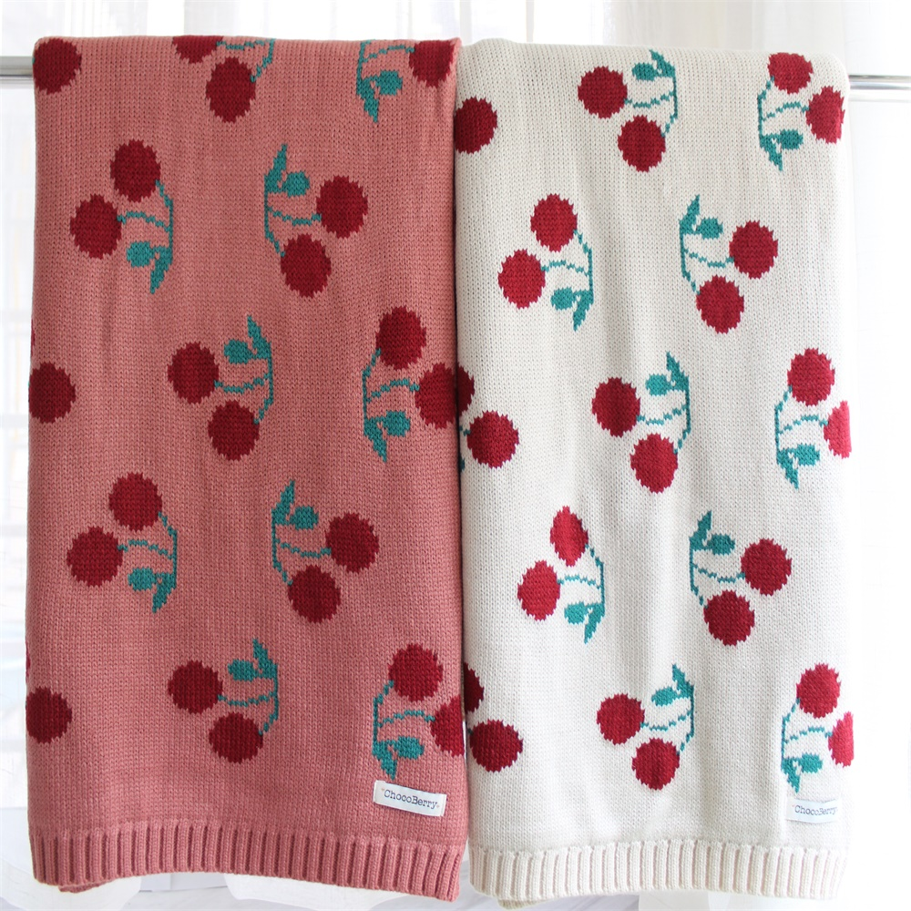 86X104cm 2 Layers Cotton Knitted Cherry Pattern Soft Girl Baby Blanket Kids Back Seat Cover Bed Quilt Cover Girl Summer Blanket