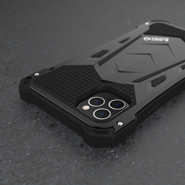 R JUST For IPhone 11 11Pro Max Luxury Doom Armor Duty Shockproof Metal Aluminum Phone Cases For IPhone 11 Pro max XS XR 7 8 plus