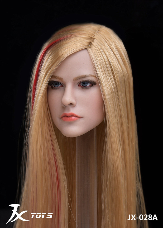 1//6 Scale Avril Lavigne Pale Skin Head Carving Curly Hair Head Carving Model