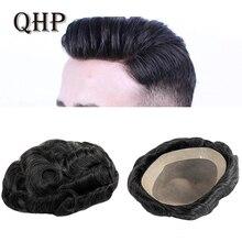 Парик мужской тонкий моно, прочный капиллярный протез 6 дюймов, парики ручной работы для мужчин, система туши из человеческих волос, плотнос...