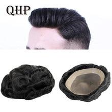 Peluca de cabello humano para hombre, tupé fino de 6 pulgadas hecho a mano con una prótesis capilar duradera, sistema tupé con 130% de densidad