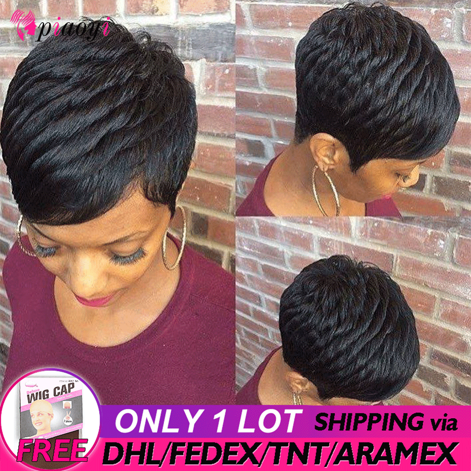 Brazilian Remy None Lace Short Human Hair Bob Wigs For Woman Short Finger Wave Wigs Short Pixie Cut Wig