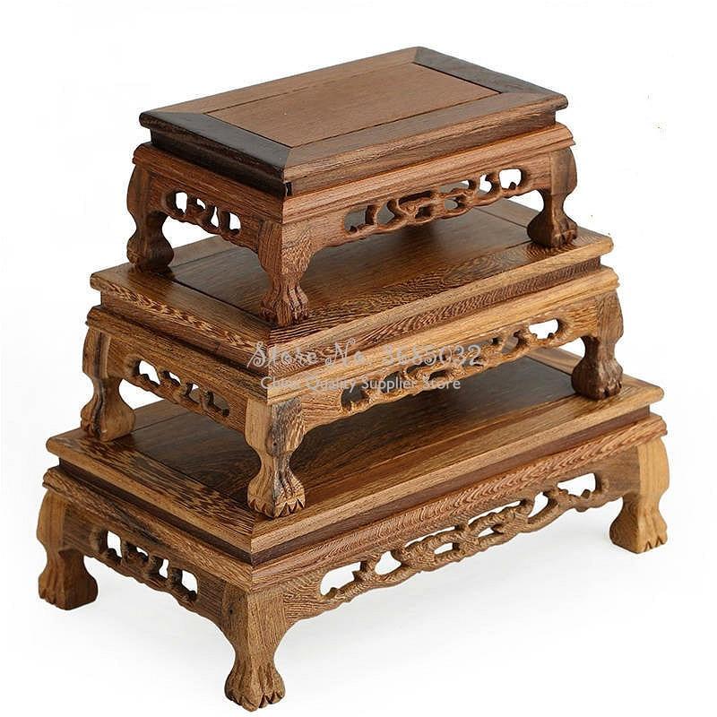 Mesa de té de madera de calidad de palisandro tallado Base florero Buda Kistler expositor Multi-uso rectangular pequeña mesa de centro