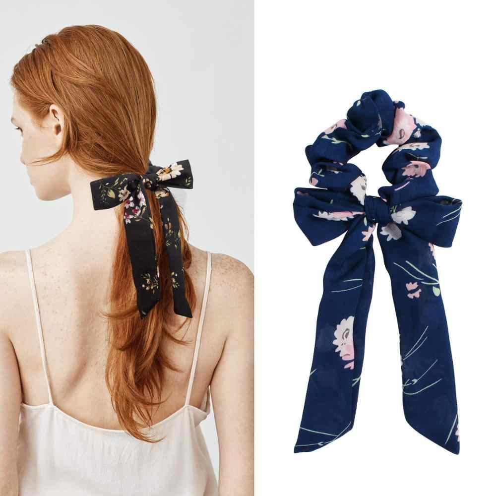 Bow serpentyny gumka do włosów moda wstążka dziewczyna opaski do włosów Scrunchies skrzyp krawat stałe nakrycia głowy akcesoria do włosów